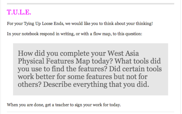 Students spent their main event (learning lab) learning about the physical features of West Asia. They had a choice of three different map tools that could all help them to create their own physical map. For their formative assessment I asked them to reflect on their metacognition while completing the activity. To view the whole lesson, click the image or click here.